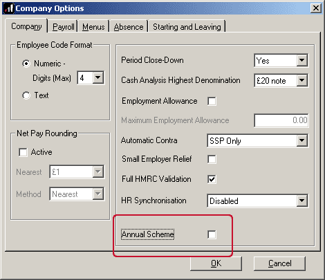 locating the annual scheme indicator tick box in company options