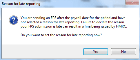You are sending an FPS after the payroll date for the period and have not selected a reason for late reporting failure to declare the reason your FPS submission is late can result in a fine being issued by HMRC