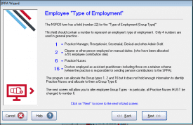 Employee type of employment NSR03 wizard
