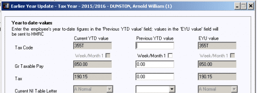 earlier year update current YTD previous YTD EYU value