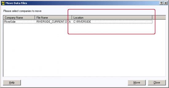 move data files window to locate live data file location