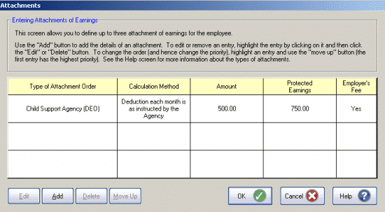 Populated attachment window GP Payroll