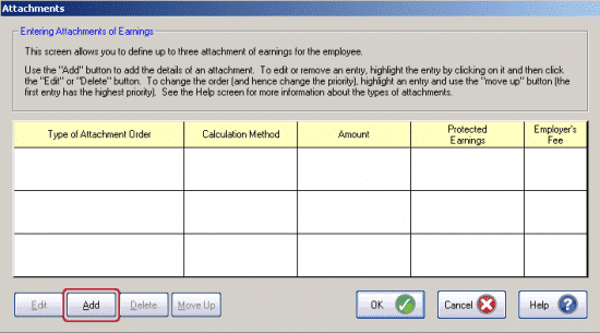 GP Payroll Attachment of earning (AEO) window