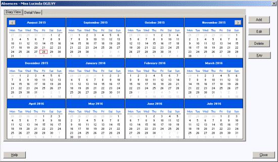 Employee Absence calendar