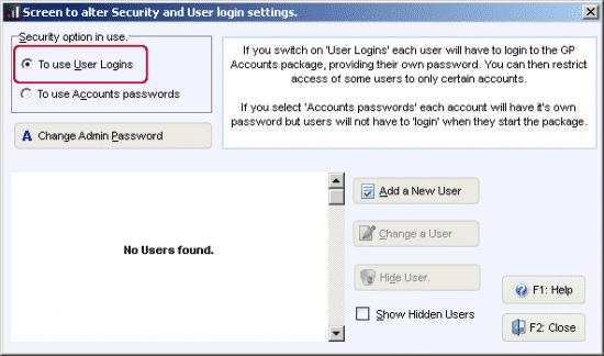 alter user log in behaviour settings for GP accounts