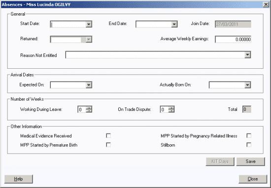 absence details window