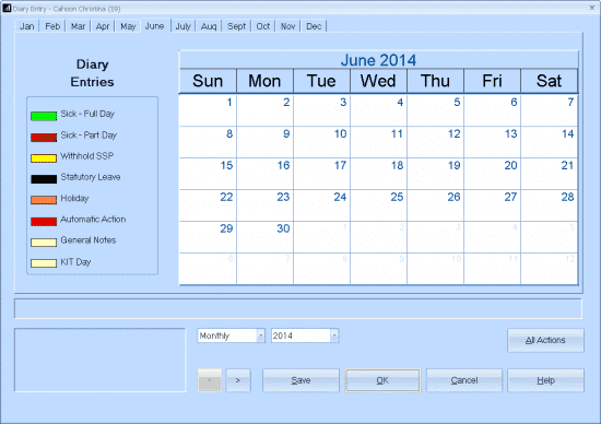 absence diary calendar view
