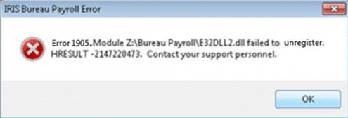 error 1905 module e32dll2.dll failed to unregister HRESULT 21472204732. Contact your support personnel
