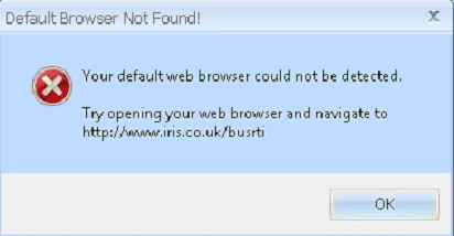 Your Default web browser could not be detected. try opening your web browser and nivigate to