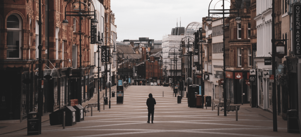A devastated UK highstreets during the covid-19 pandemic protected by the furlough scheme.
