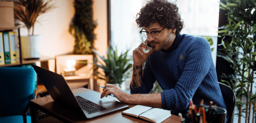 person managing HR from home